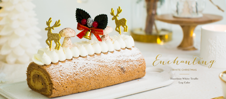 Hazelnut White Truffle Log Cake