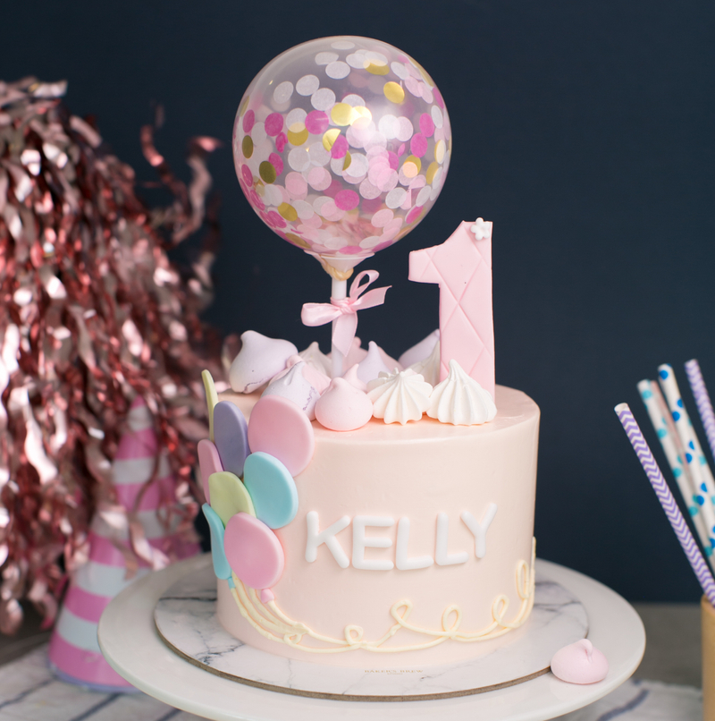 Best Confetti Ballon Pink Girl Birthday Cake Singapore