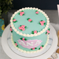 Best Teal Floral Buttercream Girl's Birthday Cake Singapore