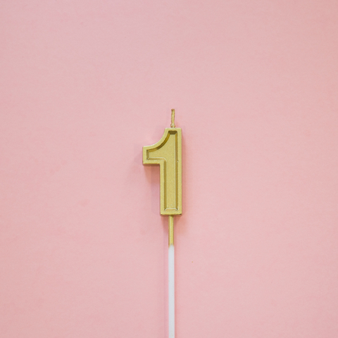 Gold Number Candle (Sans-serif)
