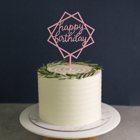 Geometric Happy Birthday (Pink)