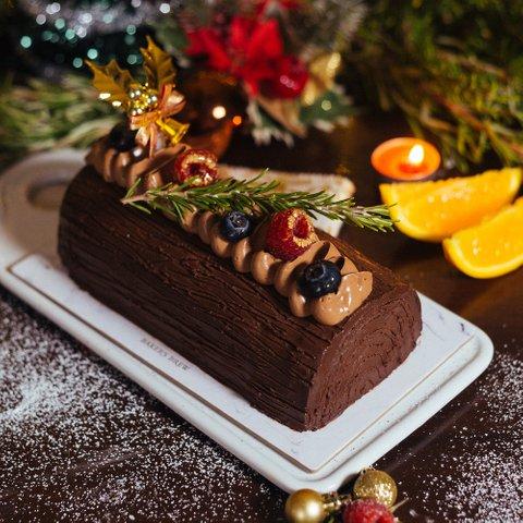 Chocolate, Blood Orange & Rosemary Log Cake