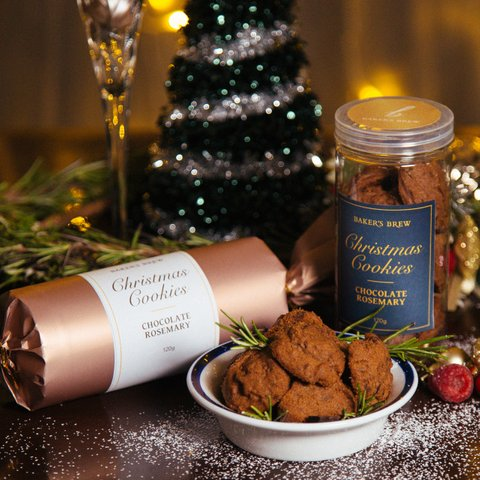 Chocolate Rosemary Christmas Cookies
