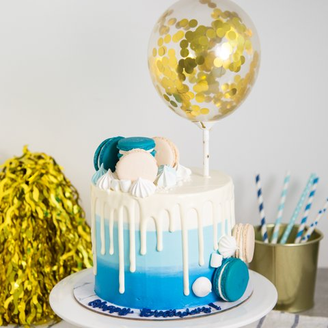 Ombre Blue Confetti Balloon