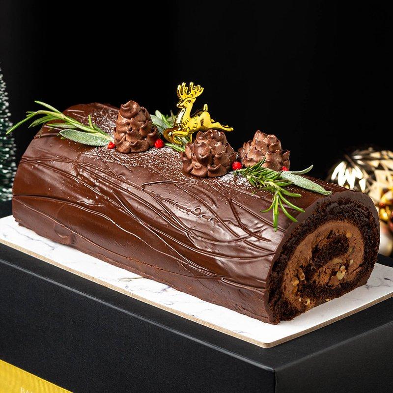 Chocolate Hazelnut Ferrero Log Cake   Baker's Brew Christmas Collection 2020