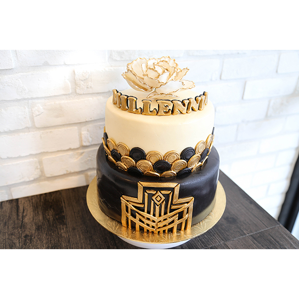 Great Gatsby Black Gold 2 Tier Customised Birthday Cake