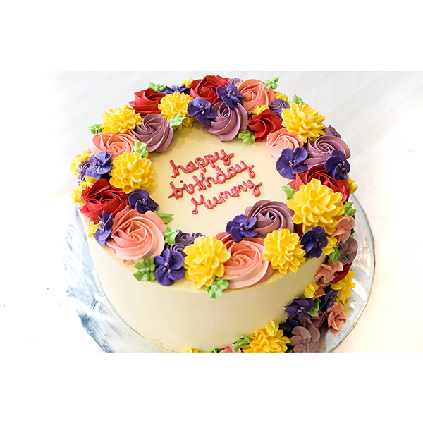 Floral Wreath Piping Customised Birthday Cake